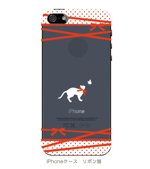 【ネコiPhoneケース】リボン猫(透明タイプ)